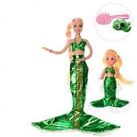 Кукла DEFA 8302  русалка 30см, с дочкой 10см, расческа,животное