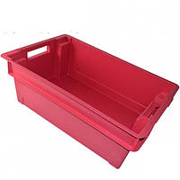 Ящики и тара для хранения и транспортировки сметаны сплошной 600 400 200 красный, фото 1