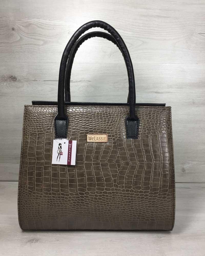 776a453b23f5 Женская сумка Бочонок черного цвета со вставкой кофейный крокодил ...