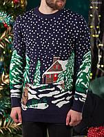 Мужской зимний вязаный свитер Staff merry blue CHR0001 новогодний в наличии только р.XL; XXL