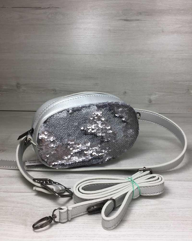 f228e1e5eb34 Женская сумка на пояс- клатч WeLassie серебряного цвета Пайетки  серебро-серебро