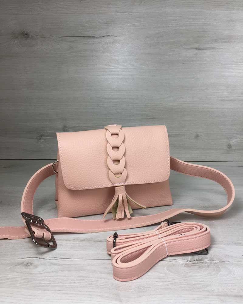 7d4daf6c2070 Женская сумка на пояс- клатч Белла пудрового цвета с плетением и кисточкой