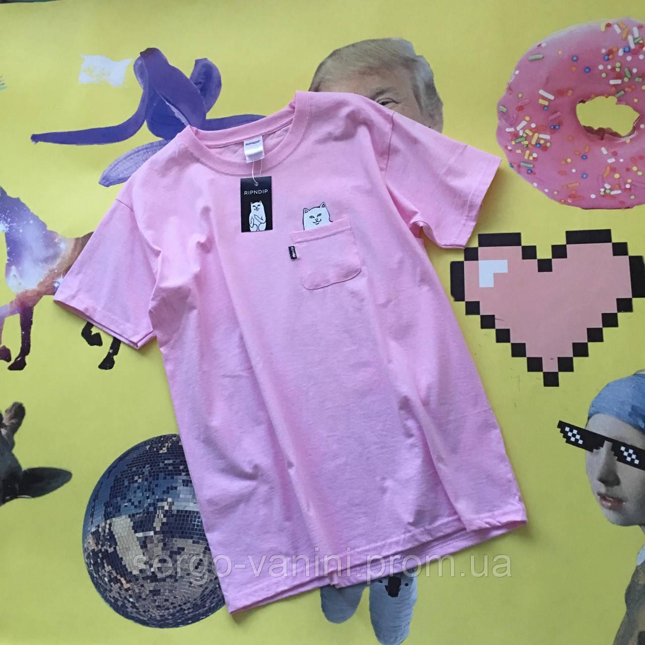 Футболка RipNDip розовая с карманчиком • Топовая реплика