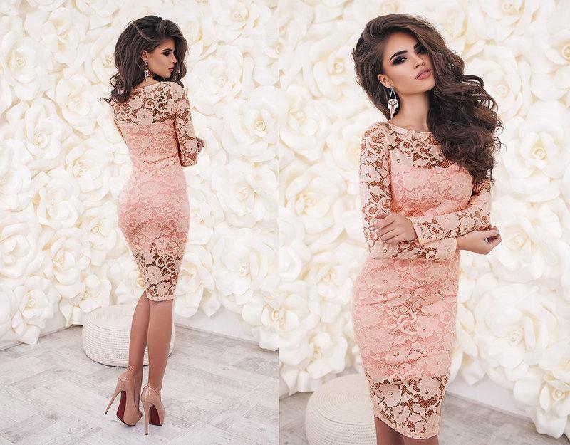 """Нарядное женское гипюровое платье миди по фигуре с длинными рукавами """"Люсия"""" персиковое"""