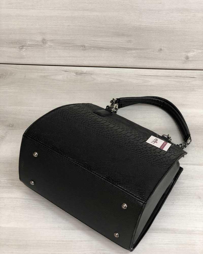 2bde8e277039 ... Каркасная женская сумка Адела черного цвета со вставкой черная  рептилия, ...