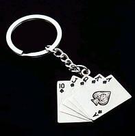 Брелок в виде набора нескольких игральных карт металл серебристый SKU0000989, фото 1