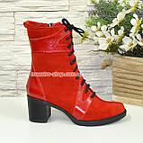 Ботинки демисезонные комбинированные на устойчивом каблуке, фото 2