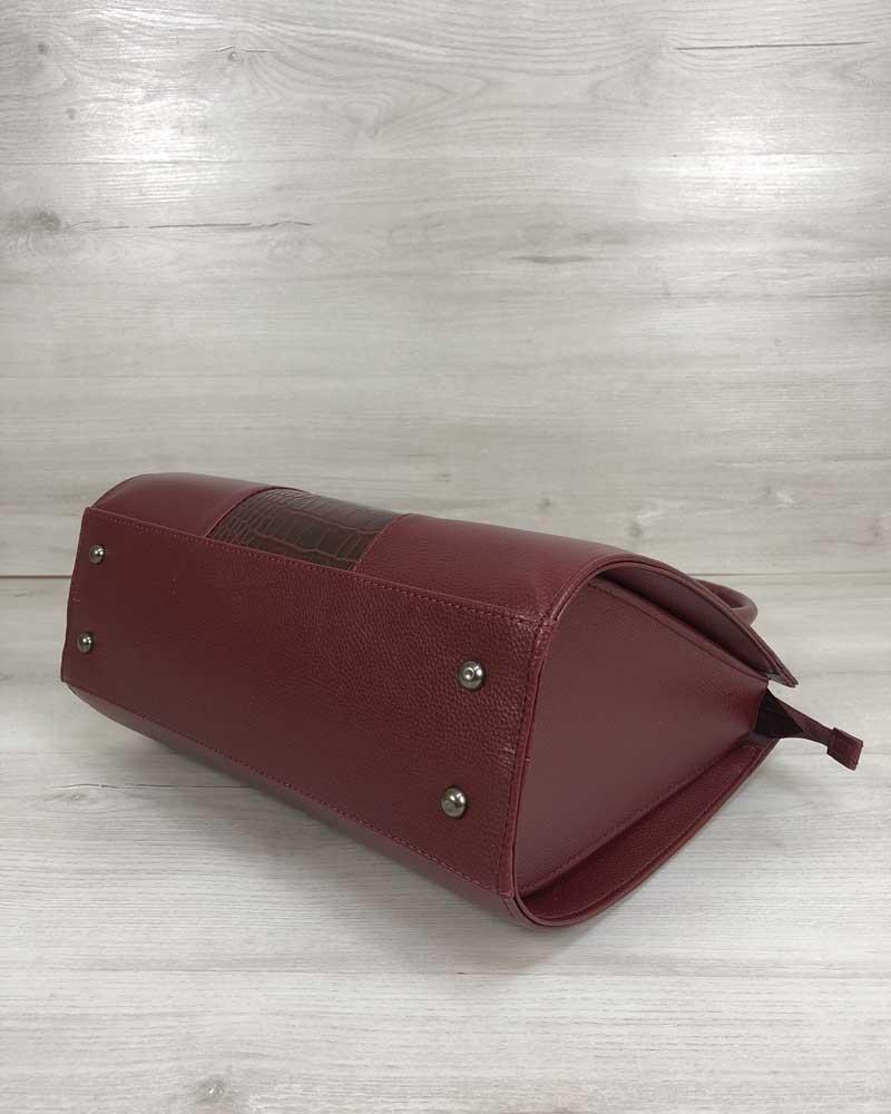 1e567c0675dd ... Женская сумка Бочонок бордового цвета со вставкой бордовый крокодил, ...