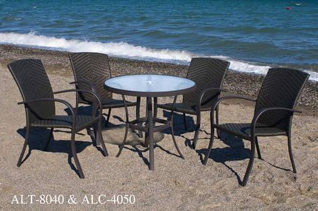 Алюминиевые столы, столы из искусственного ротанга