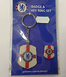 Брелок для ключів (Челсі) Chelsea Keyring + Badge Set CC WH