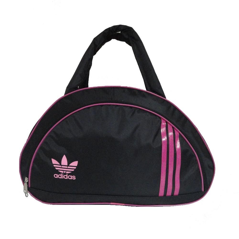 981bd047 Спортивная женская сумка черно-розовая среднего размера круглые ручки  43х28х19 см - e-sumki