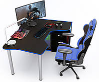 Геймерский стол Zeus IGROK-TOR (черный/синий), фото 1
