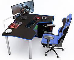Геймерский стол Zeus IGROK-TOR (черный/синий)