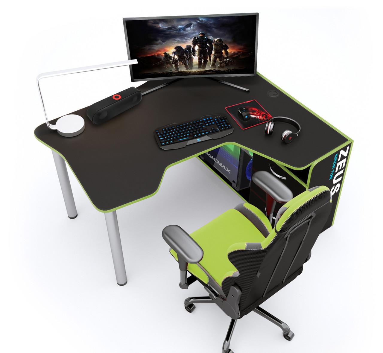 Геймерский стол Zeus IGROK-TOR (черный/зеленый)
