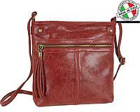 Женская кожаная сумка через плечо декорирована кисточкой