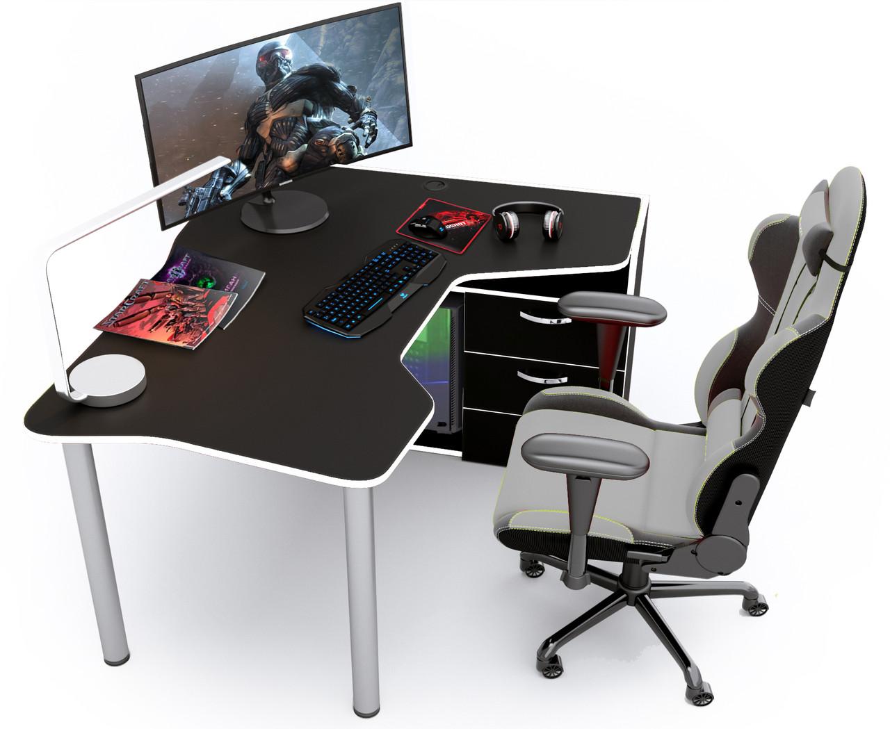 Геймерский стол Zeus IGROK-TOR (черный/белый)