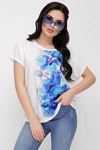 """Асимметричная свободная женская белая футболка с цветочным принтом, синие орхидеи """"Air"""""""