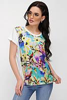 6b26a6a701e92 Асимметричная свободная женская белая футболка с цветочным принтом, веточки  магнолии