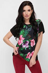 """Асимметричная свободная женская черная футболка с цветочным принтом, букет роз""""Air"""""""