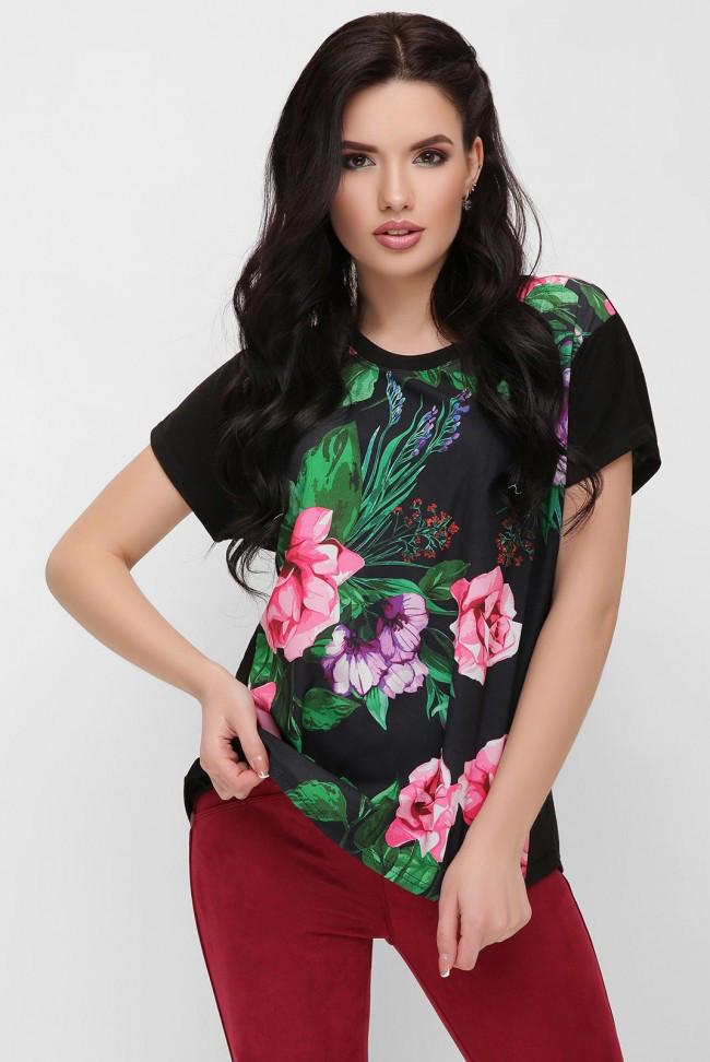 c6c8d990d0bdb Асимметричная свободная женская черная футболка с цветочным принтом, букет  роз