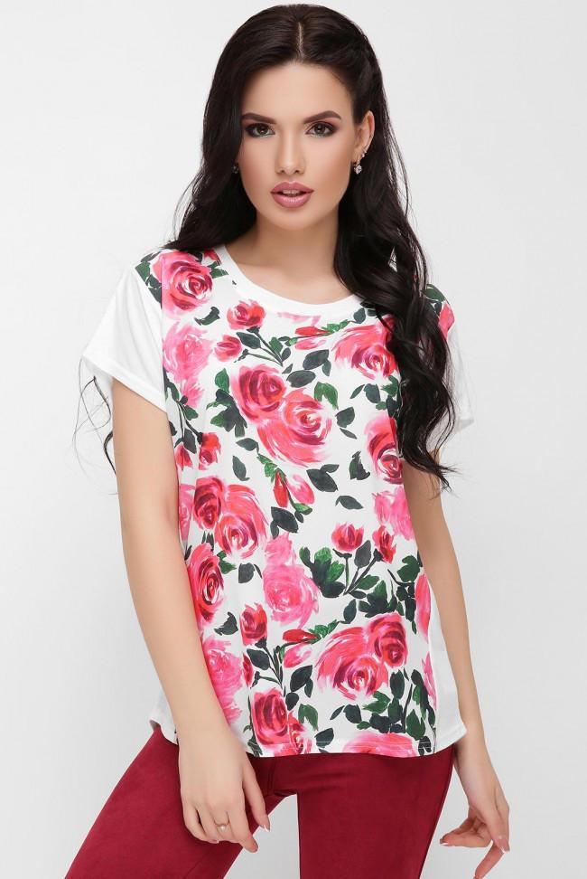 5146b78444443 Асимметричная свободная женская белая футболка с цветочным принтом, розы  акварель