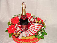 """Подарок из конфет и шампанского""""Лестница желаний"""""""
