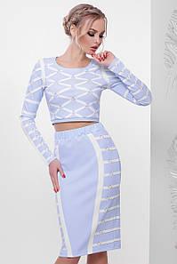 Голубой женский нарядный костюм короткая кофта и юбка карандаш с отделкой Lines Костюм Алина д/р