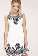Свободное летнее платье трапеция белое без рукавов с принтом Узор черный Лада б/р