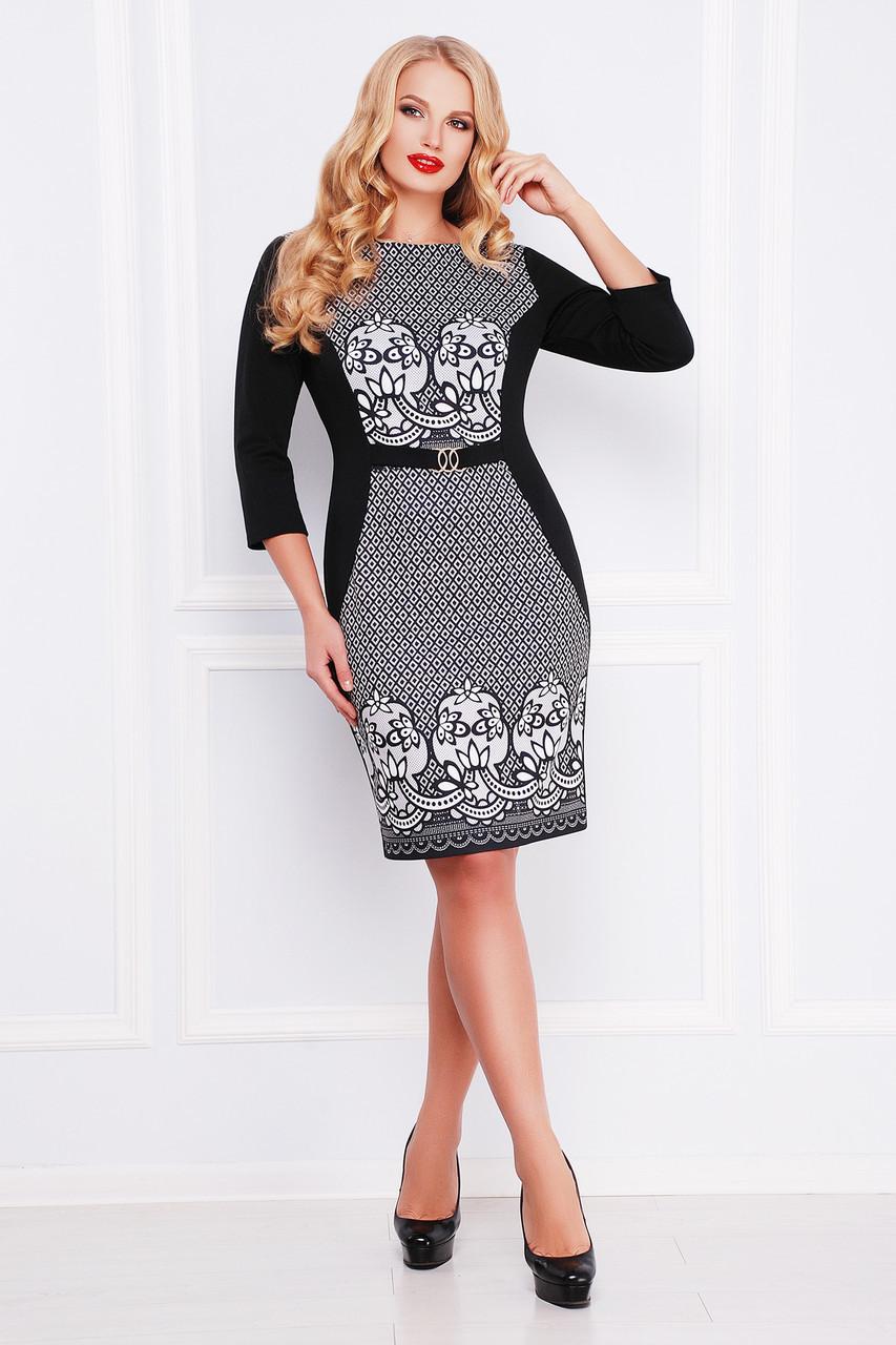 Коктейльное женское черное платье футляр Базовое с принтом Кружево, большие размеры Джемма-Б д/р