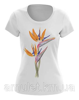 """Женская футболка с принтом """"Цветы, Райская Птица"""", фото 2"""