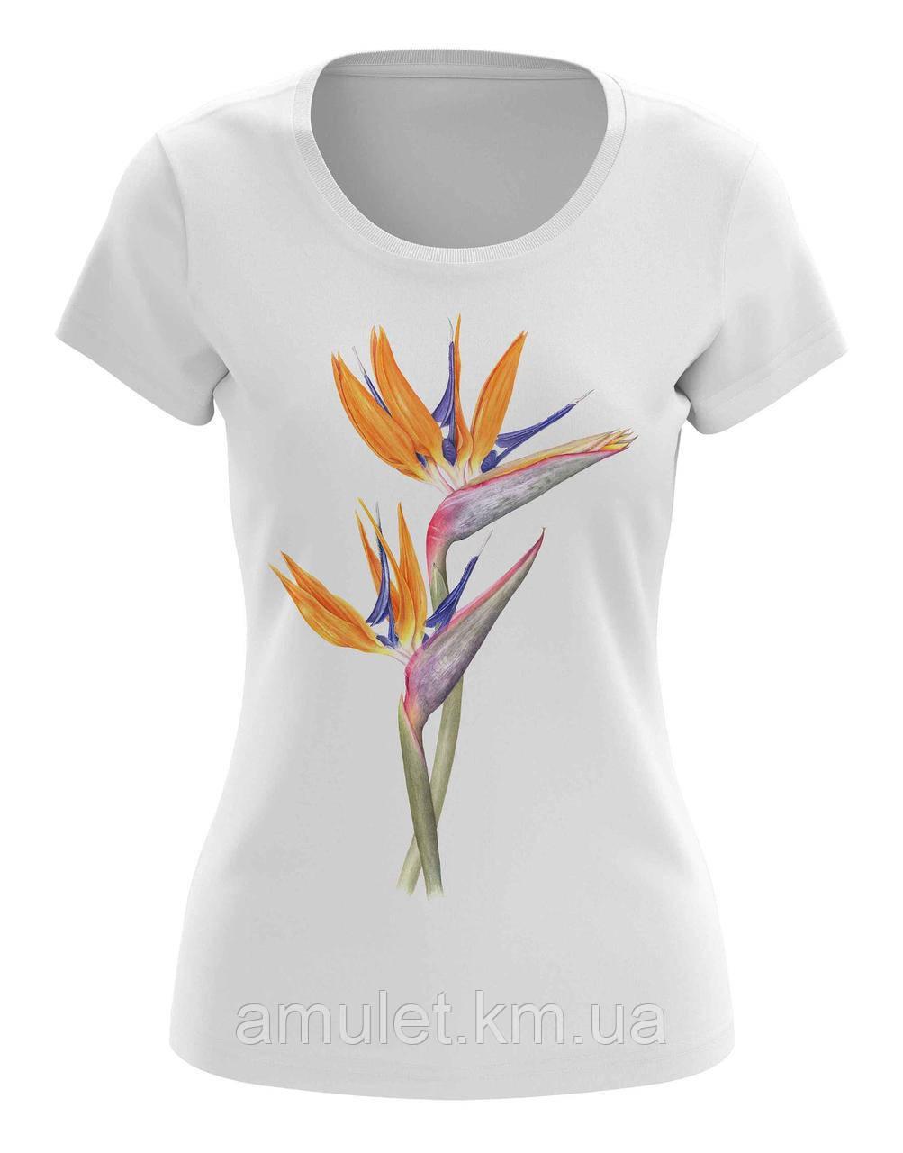 """Женская футболка с принтом """"Цветы, Райская Птица"""""""