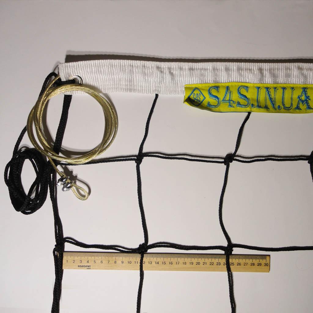 Сетка для волейбола «ЭЛИТ 15» с тросом черно-белая