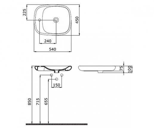 Умывальник на столешницу 54 см BOCCHI FENICE 1164-025-0125, фото 2