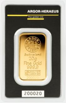 Слиток золота 20 грамм Argor-Heraeus (НОВЫЙ)