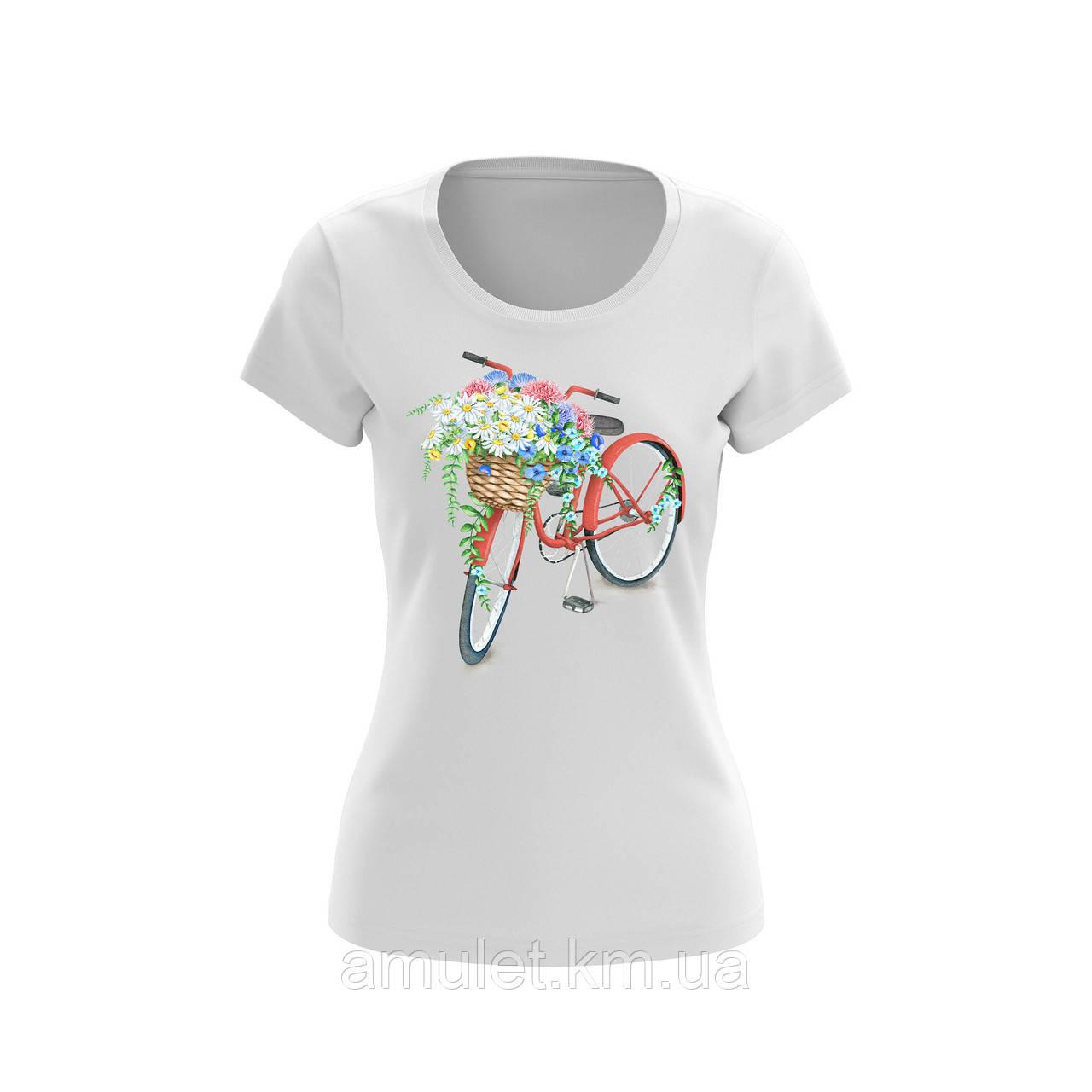 """Футболка жіноча з принтами """"Велосипед з квітами"""""""
