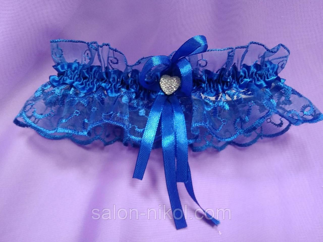 Подвязка кружевная темно-синяя