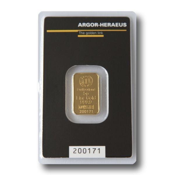 Слиток золота 5 грамм Argor-Heraeus (НОВЫЙ)