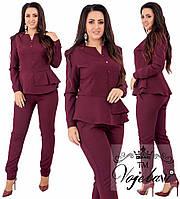 Костюм женский двойка блуза + пиджак из креп - костюмки с 42 по 54 рр