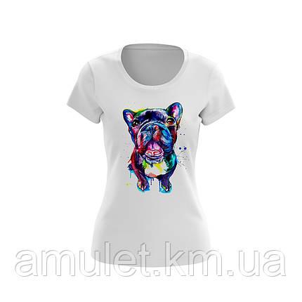 """Жіноча футболка з принтом """"Білий бульдог"""", фото 2"""