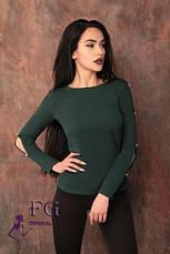 """Красивая женская кофта с разрезами и пуговицами на рукавах """"Колибри"""" зеленая, фото 3"""