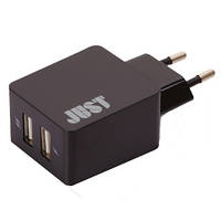 Сетевое з/у JUST Core Dual USB Wall Charger (3.4A/17W, 2USB) Black (WCHRGR-CR-BLCK)