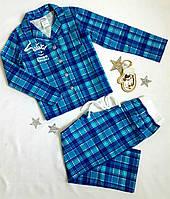 Пижама на байке в клеточку на пуговицах, размер 116-140, голубой