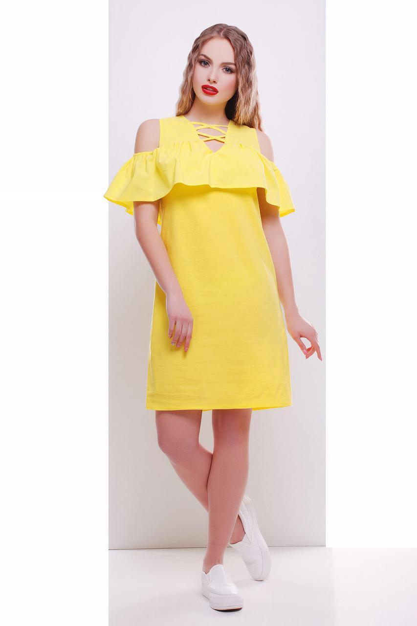 Летнее желтое однотонное платье миди с воланом сарафан Калабрия