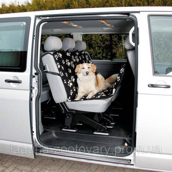 TX-13234 Накидка в авто для заднего сиденья (флис/нейлон) 140х145см, чёрный/бежевый