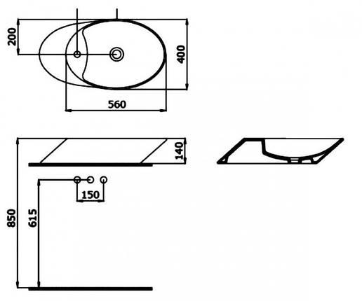 Раковина на столешницу 56 см BOCCHI MILANO 1021-005-0126, фото 2
