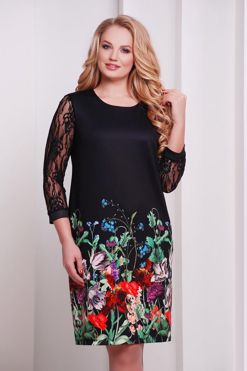 Коктейльное черное прямое платье с гипюровым рукавом большые размеры принт Букет КД