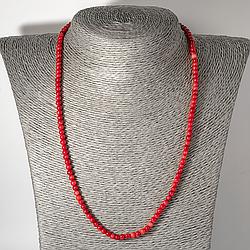 Червоний корал, Ø4 мм., намисто шнурок, 120ОК