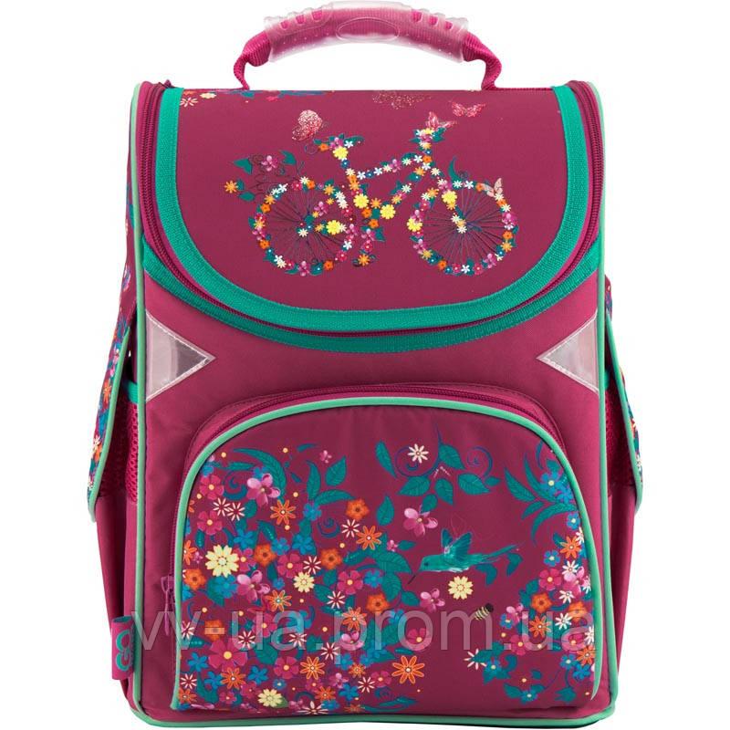Рюкзак школьный каркасный GoPack 5001S-21 бордовый, принт