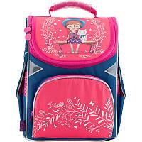 Рюкзак школьный каркасный ортопедический GoPack 5001S розовый, синий, принт, для девочек (GO18-5001S-25)