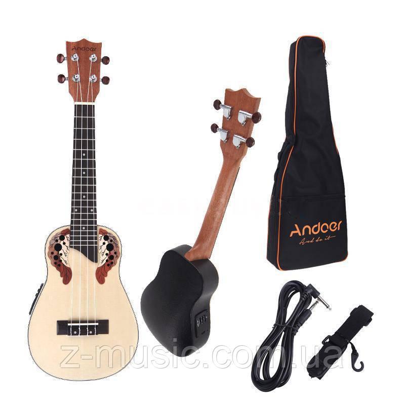 Электроакустическое концертное укулеле Andoer UK24-EA